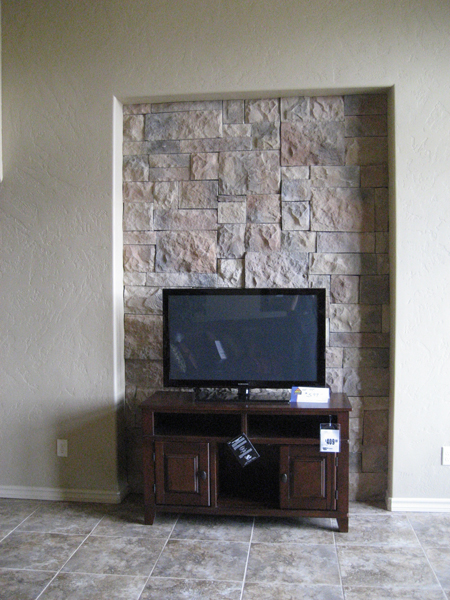 Stone treatment inset into great room wall