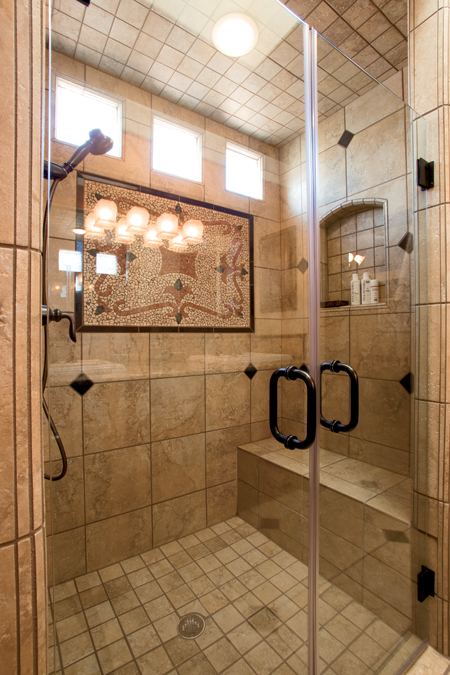 Handicapped Accessable Shower with Wall Medallion
