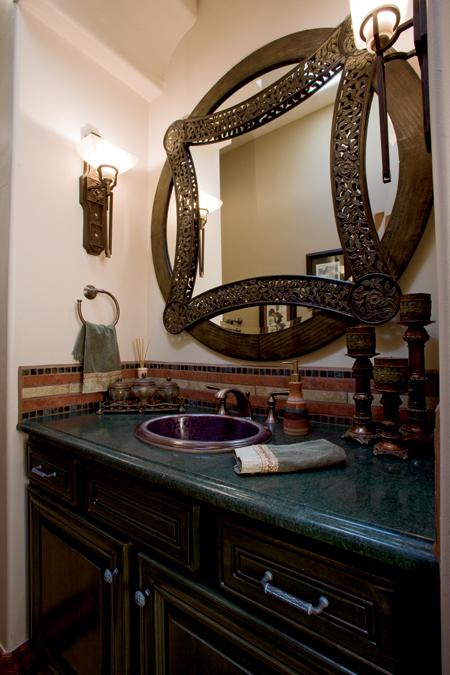 Powder Bathroom with Custom Tile Treatment and Deco Mirror