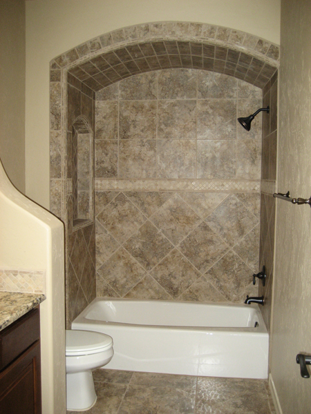 Tile with listello and custom tile treatment